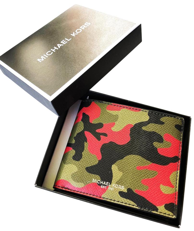 4ce57a054bc6 Michael Kors Camouflage Box New In Mens Spice Orange Bi-fold X2 Wallet