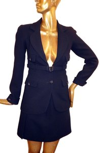 Chanel Chanel Black Wool Knit Belted Jacket Skirt Suit