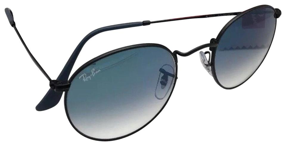 Ray Ban New Round Metal Rb 3447 006 3f Matte Black W Mirror Blue