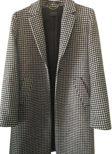 Ann Taylor Houndstooth Wool Single Breasted Single Button Shawl Wool Driving Trench Coat