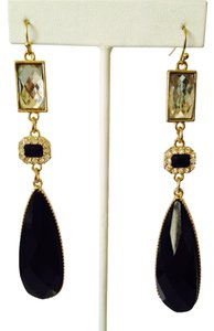 Faceted Black Resin & Crystal Long Dangle Earrings