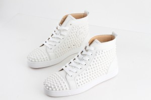 Christian Louboutin White Louis Spikes High Top Sneakers Shoes