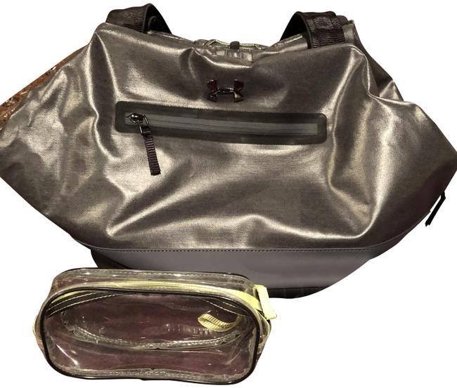 Item - Yoga Tote Black and Grey Polyurethane Polyester Cotton Weekend/Travel Bag