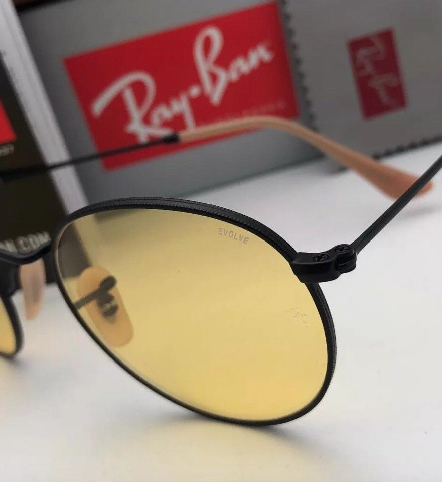 a78fd7a322 Ray-Ban Photochromic Round Metal Rb 3447 9066 4a 53-21 Matte Black W   Yellow Lenses 9066 4a Sunglasses
