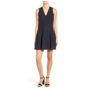 cupcakes and cashmere short dress BLUE, BLACK, NAVY, NAVY BLUE Herringbone Hector Fit & Flare on Tradesy