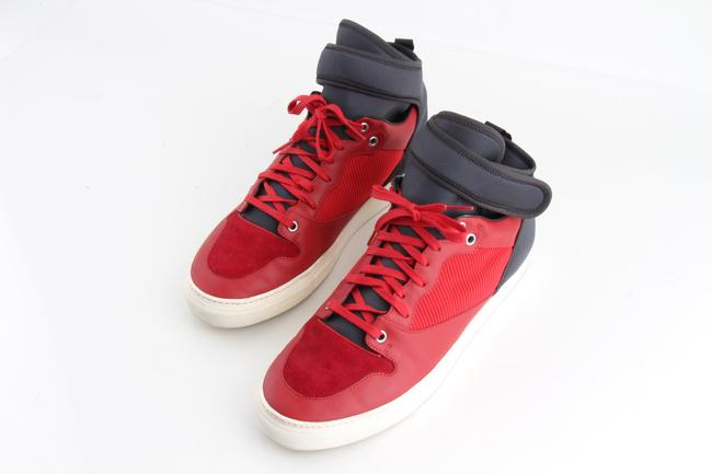 Item - Red Leather High-top Sneakers Shoes