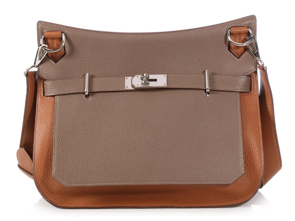 ecb8b36211 Hermès Etoupe and Gold Clémence Jypsière 34 Brown Leather Hobo Bag ...