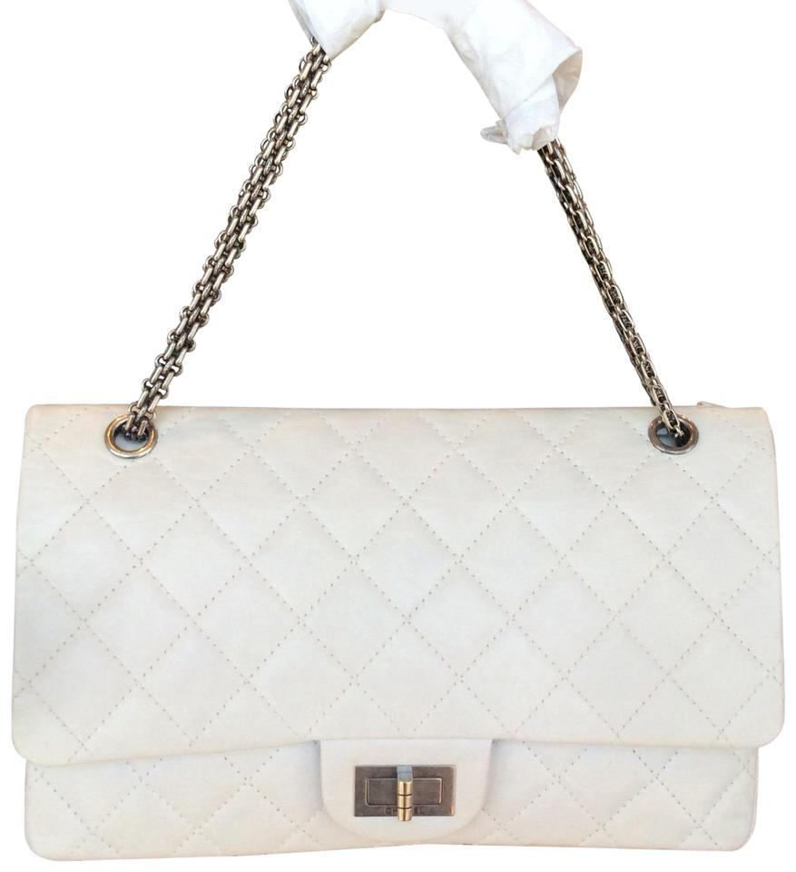 517dea06300d Chanel Classic Flap 2.55 Reissue In Jumbo 227 Size Limited Ed. White  Calfskin Leather Shoulder Bag