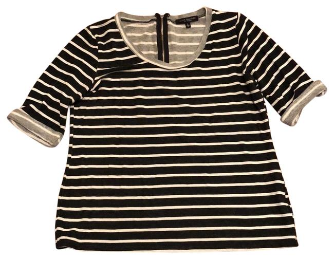 Item - Charcoal Gray with Ivory Striped Trim Tunic Size 12 (L)
