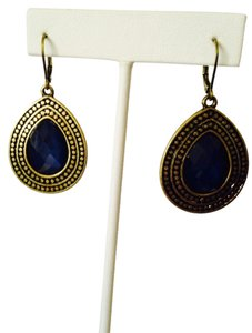 Other Faceted Blue Crystal In Bali Style Gold-Tone Dangle Earrings
