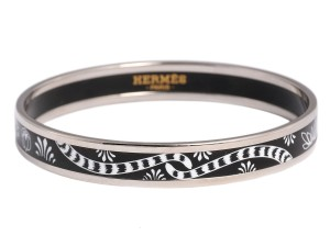 Hermès Black and White Narrow Les Leopards Enamel Bangle Bracelet