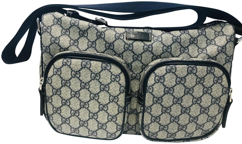 dd770119d13a Gucci Gg Plus Navy Coated Canvas Messenger Bag - Tradesy