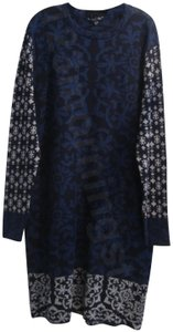 Gypsy05 Paisley/Damask Print Crew Neck Contrast Prints Shift Silhouette Sweater Material Dress