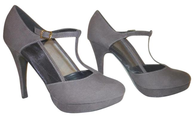 Item - Gray Micro Suede High Heel Platform Pump with A T Strap Formal Shoes Size US 8 Regular (M, B)