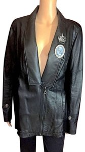 DKNY Lambskin Brooches Fitted Leather Jacket