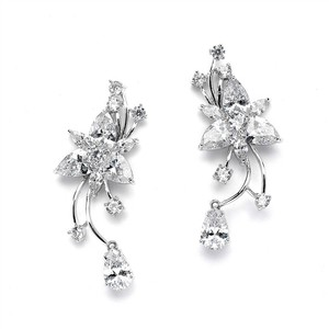 Mariell Graceful Cz Vine Wedding Earrings With Dangle 4369e-s
