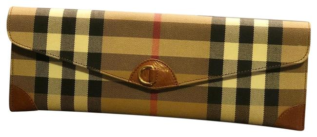 Item - Vintage Check Tan Red Black and White Canvas Clutch