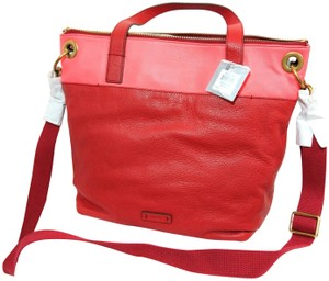 Fossil Neon Salmon Square Tote in Red, Pink