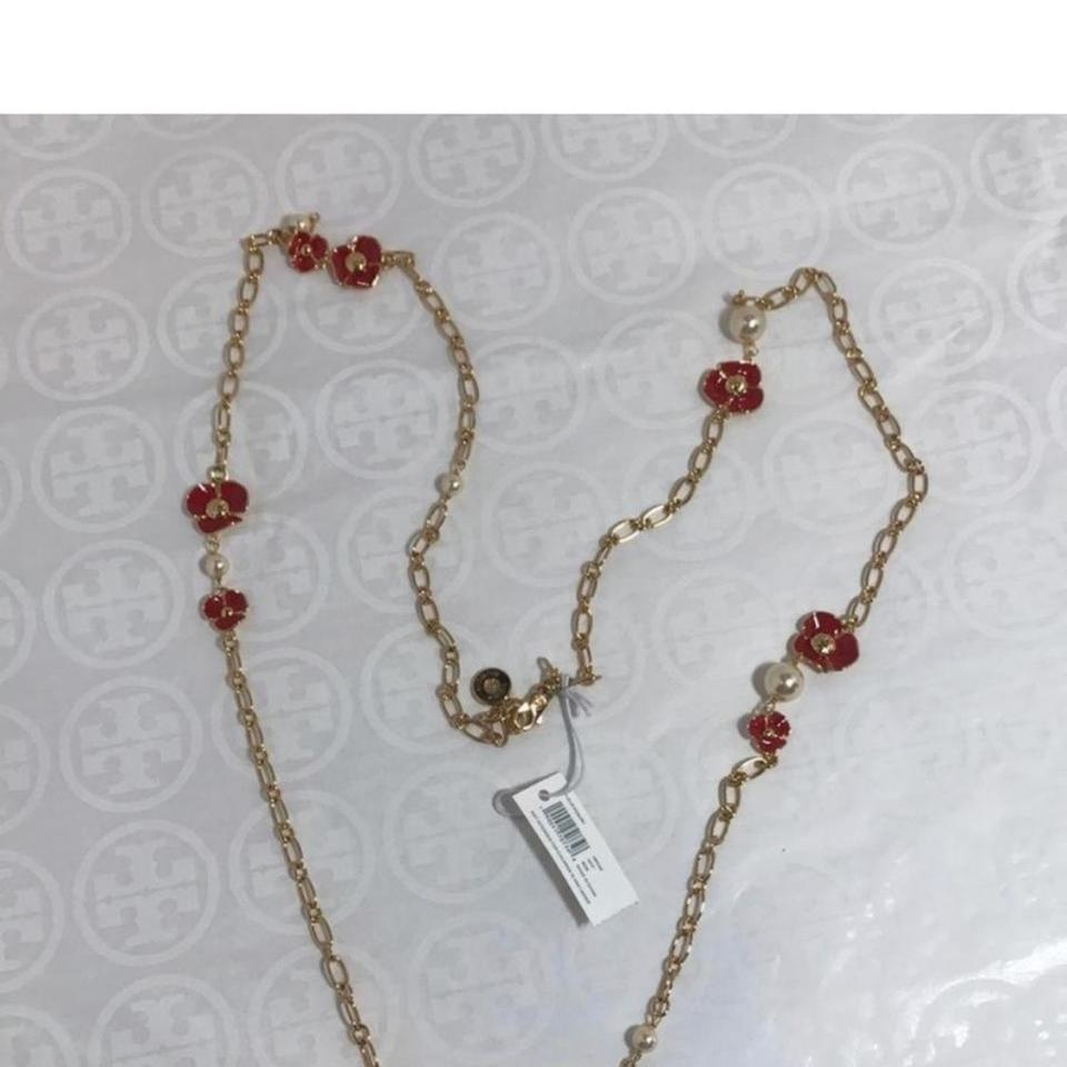 cc0907c5619e Tory Burch Red Gold Fleur Rosary Necklace - Tradesy
