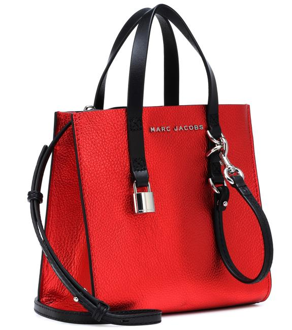 Marc Jacobs The Small Poppy Red Metallic Leather Tote Marc Jacobs The Small Poppy Red Metallic Leather Tote Image 1