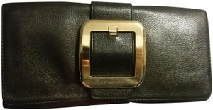 Michael Kors Hardware #leather Black and Gold Clutch