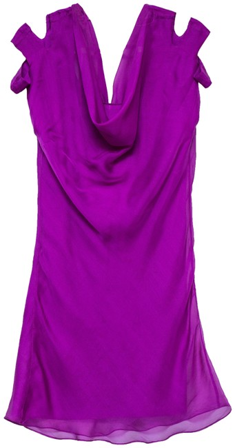Item - Fuchsia With Cut Out Shoulders Mid-length Cocktail Dress Size 12 (L)