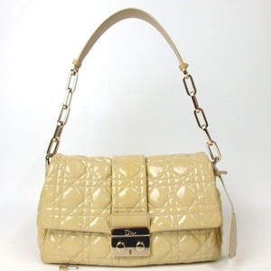 Dior Christiandior Leather Tote in Beige yellow with Gold Hardware