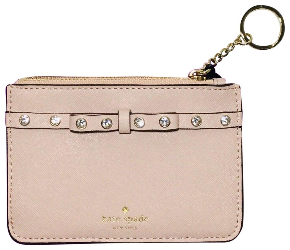 low priced c9fd8 bf796 Kate Spade Pink Bitsy Laurel Way Jeweled Key Coin / Mini Warm Vellum Wallet  55% off retail