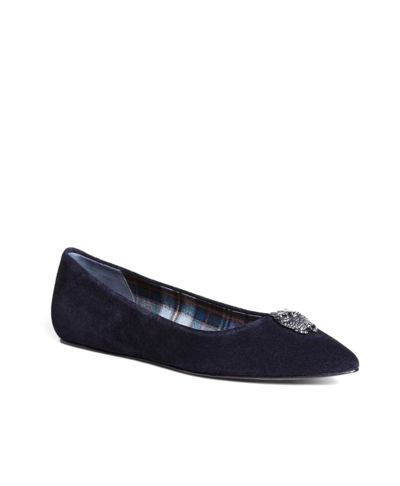 b1a7f514825 Brooks Brothers Navy Blue Owls Suede Ballet Women Flats Size US 8 ...