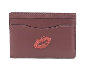 Coach Leather Card F27038 Wristlet in Glitter Red Lips