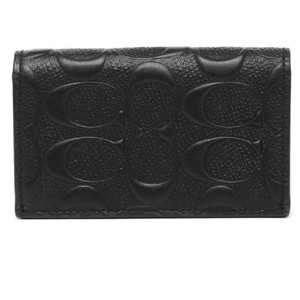 Coach Leather Card F12023 Wristlet in Black