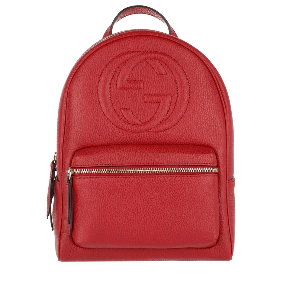 9cdb406f06f84 Gucci Gg Red Leather Backpack - Tradesy