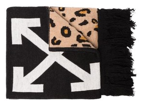 Off-White™ logo printed leopard wool scarf