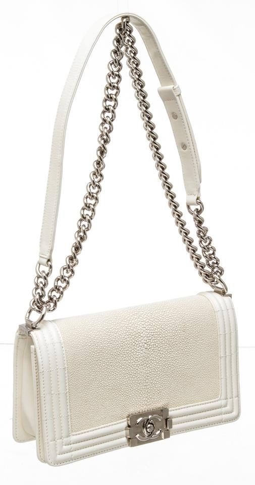 d0b324318130 Chanel Classic Flap Boy 486997 Off-white Leather and Stingray Shagreen  Shoulder Bag - Tradesy