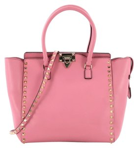 Valentino Rockstud Leather Tote in Pink