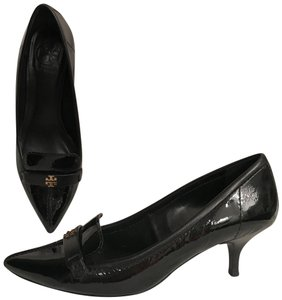 Tory Burch Patent Leather Leather Pointed Toe Reva Selma Black Gold Pumps