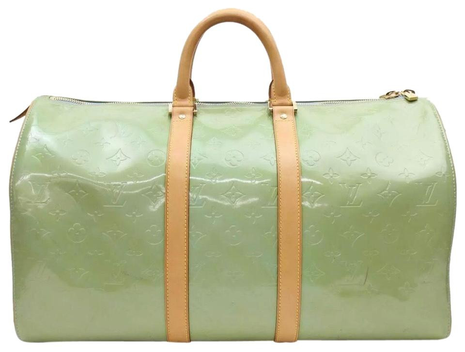 daed5d412e7c Louis Vuitton Keepall Lv Monogram Vernis 45 Blue Green Patent Leather  Weekend Travel Bag