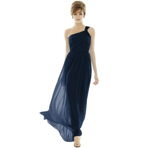 Alfred Sung Midnight Blue Chiffon Style D691 Formal Bridesmaid/Mob Dress Size 6 (S)
