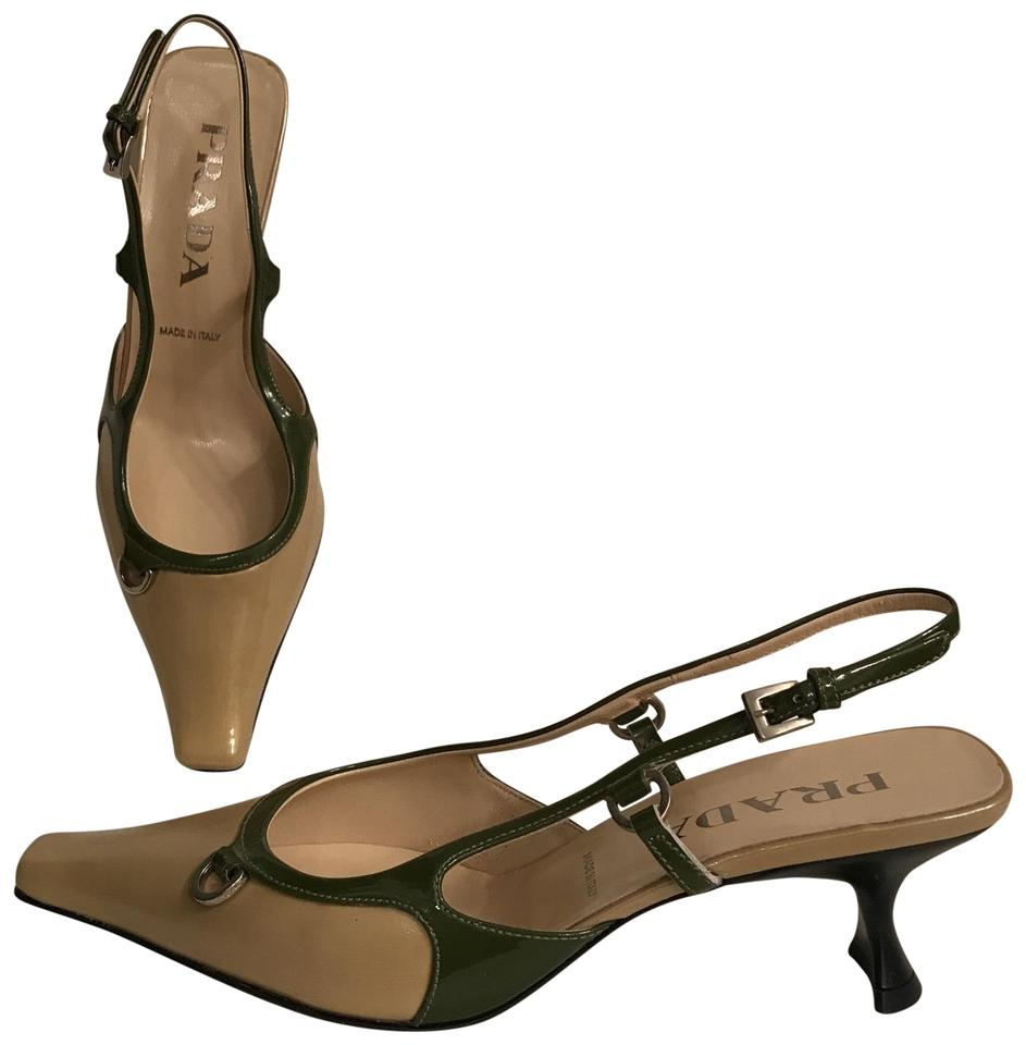 a57c1a022303 Prada Gold Green Tan Patent Leather Pointed Squared Toe Pumps Size ...