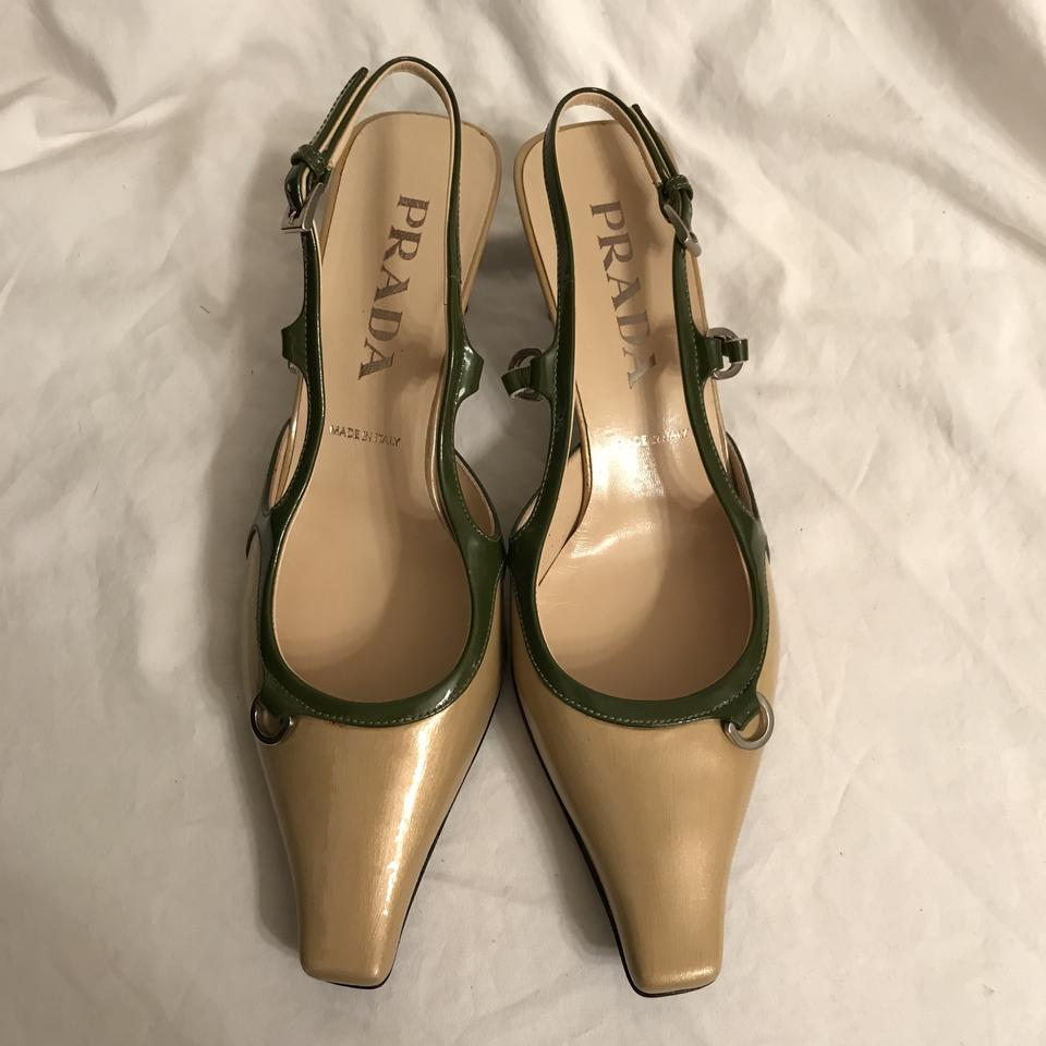 d72566ad4aed9 Prada Gold Green Tan Patent Leather Pointed Squared Toe Pumps Size EU 36.5  (Approx. US 6.5) Regular (M, B) 77% off retail