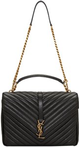 Saint Laurent Monogram Leather Gold Hardware Quilted Shoulder Bag