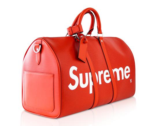 Louis Vuitton x Supreme Keepall Epi Leahter Red Travel Bag Image 1