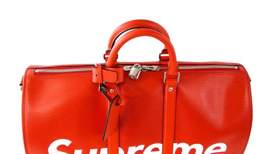 Louis Vuitton x Supreme Keepall Epi Leahter Red Travel Bag Image 4