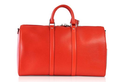 Louis Vuitton x Supreme Keepall Epi Leahter Red Travel Bag Image 6
