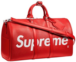 Louis Vuitton x Supreme Keepall Epi Leahter Red Travel Bag