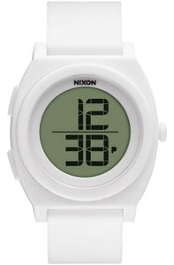Nixon A417-100 Time Teller Unisex White Rubber Band LCD Digital Dial Watch