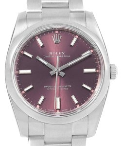 Rolex Rolex Oyster Perpetual 34 Red Grape Dial Steel Mens Watch 114200
