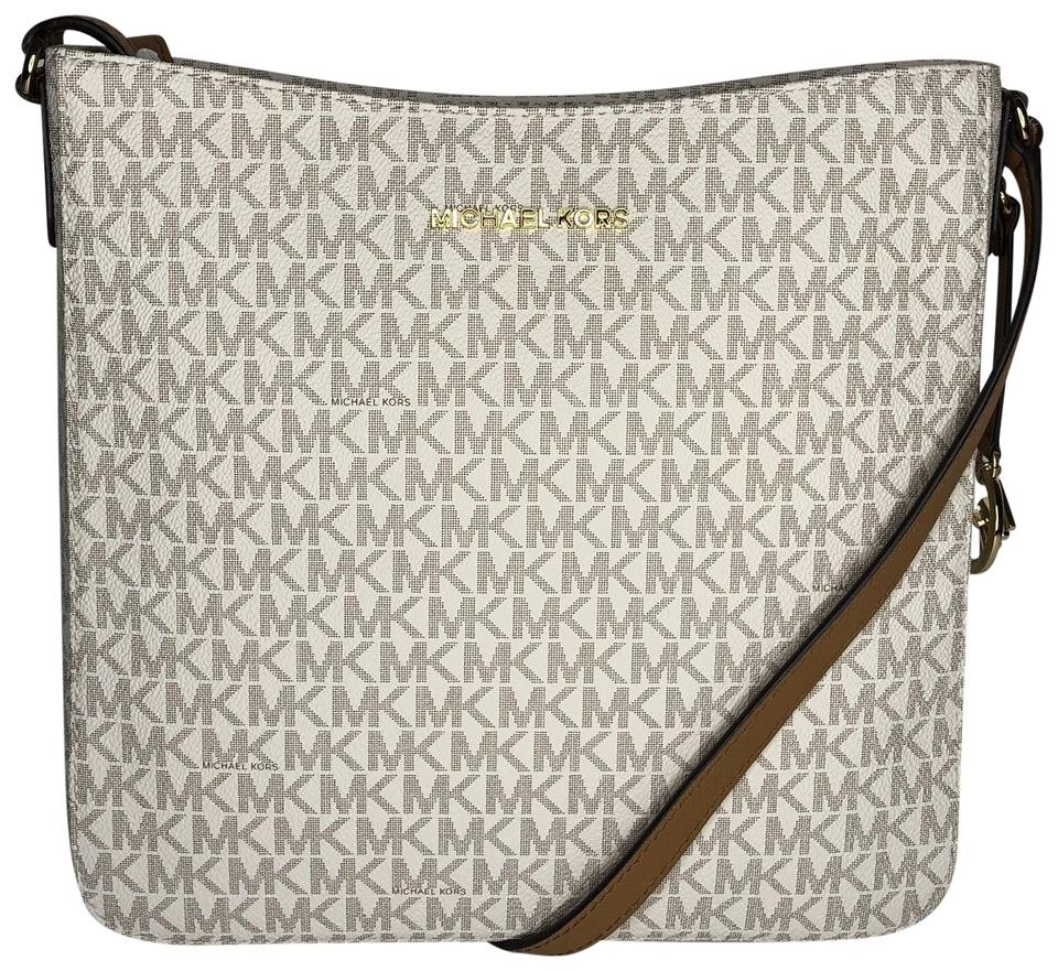fcd5c437c4e0 Michael Kors Jet Set Messenger Signature Mk Vanilla Acorn Leather ...