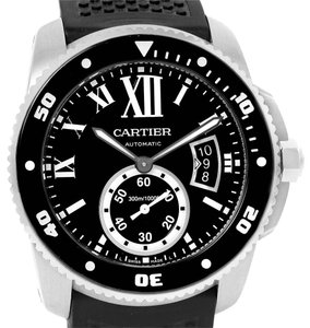 Cartier Cartier Calibre Divers Black Dial Rubber Strap Mens Watch W7100056