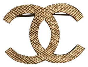 Chanel Authentic Chanel XL Brooch CC Logo Brushed GHW